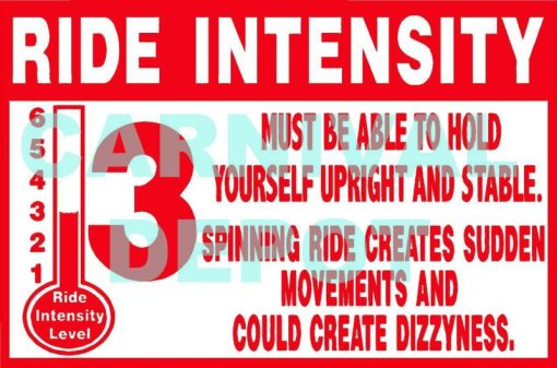 Ride Intensity Carnival Safety Sign