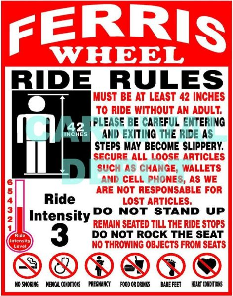 Ferris Wheel Carnival Ride Safety Sign