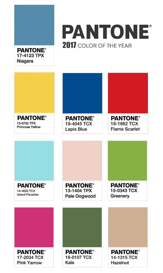 as cores eleitas pela pantone para o ano de 2017