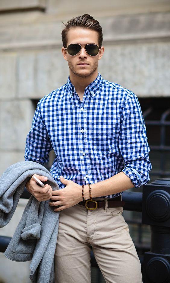 ideias de looks masculinos usando a estampa xadrez vichy