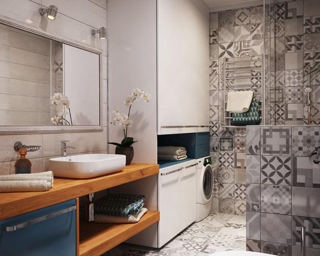 ideias para colocar a maquina de lavar e secar no banheiro