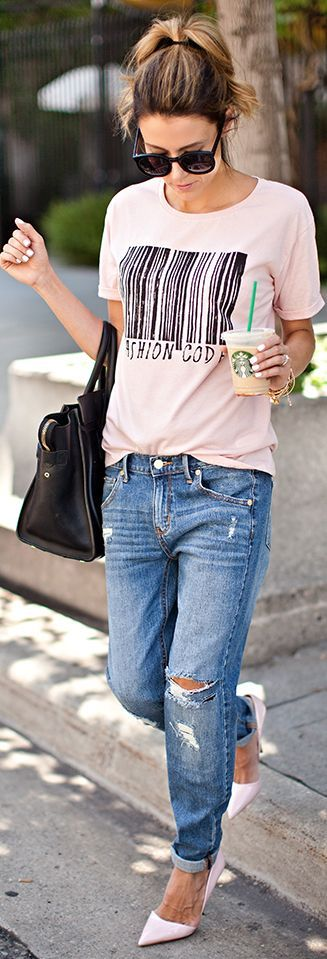 look rosa blush com jeans