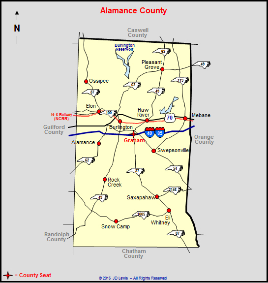 Map County North Carolina Alamance