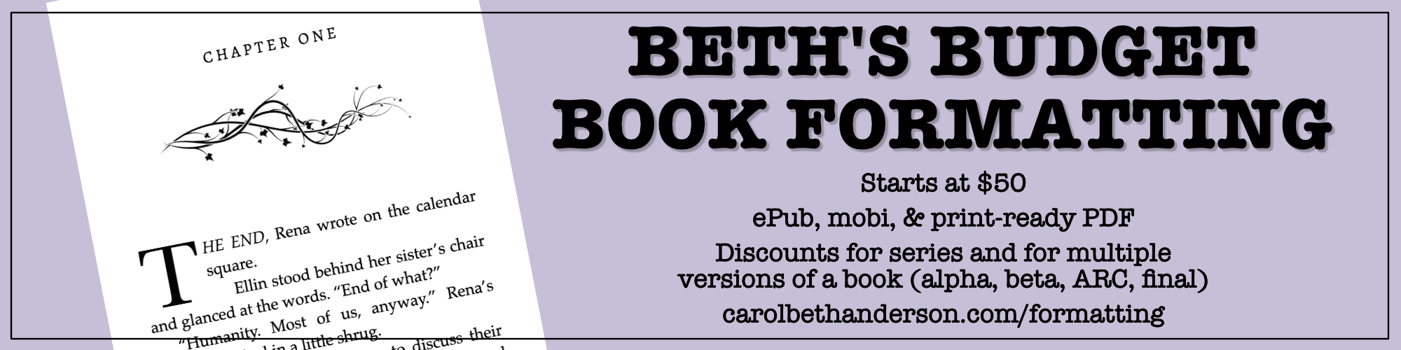 Banner for Beth's Budget Book Formatting
