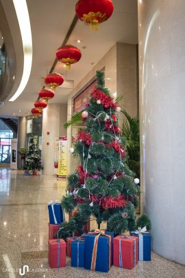 Rather dpressing looking christmas trees in a shopping mall at Chaoyangmen.