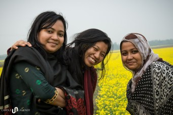 In the mustard field: Karishma, Tribeni and Tanzin