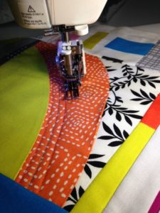 Walking foot quilting on a gentle curve
