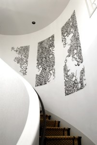 Private Residence, Los Angeles: a silver thread, 9' x 12', Acrylic Ink on Mylar