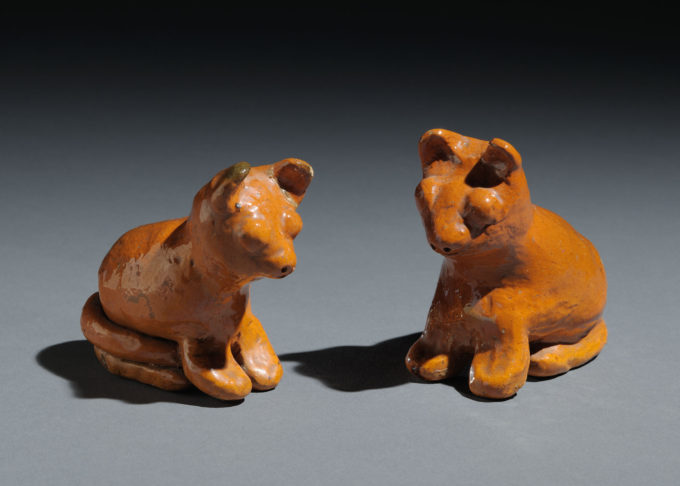 Cat figurines--2002.56.1 (right) & 2002.56.2 (left)
