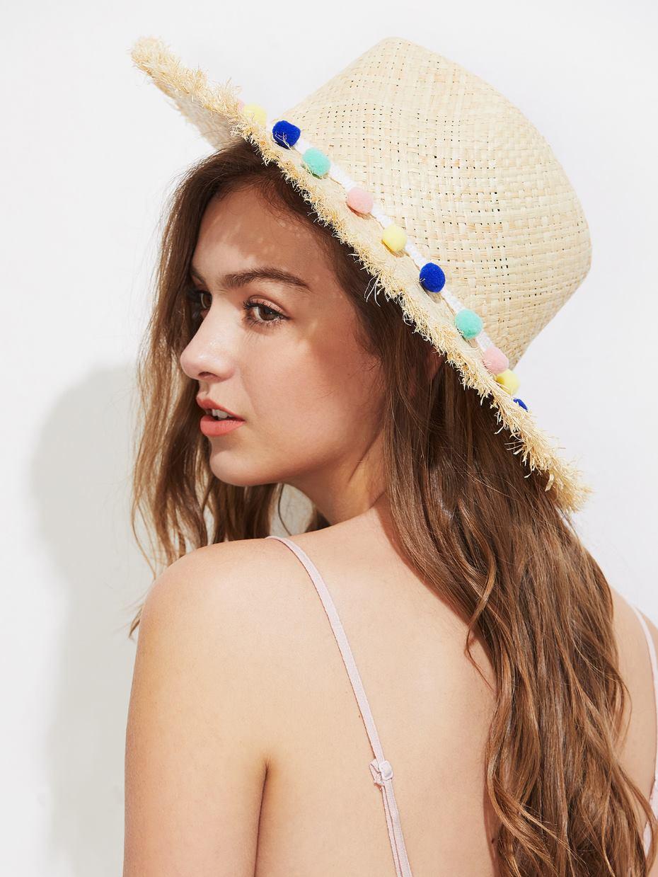 Cappello paglia con pon pon