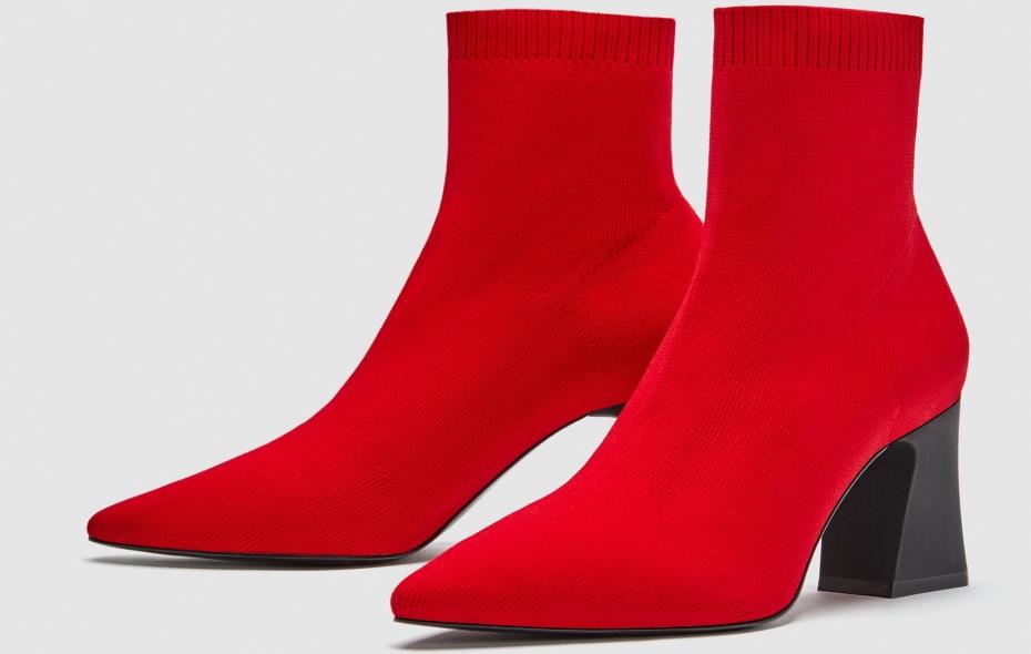 stivali a calzino rossi