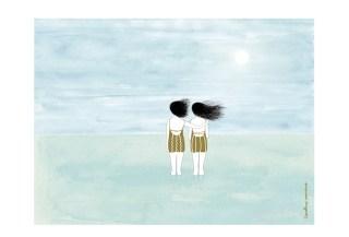 Mar calmo y luna