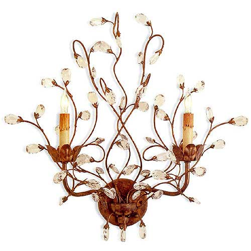 Currey and Company Crystal Bud Wall Sconce, 20 in. W x 8 in. D x 21 in. H
