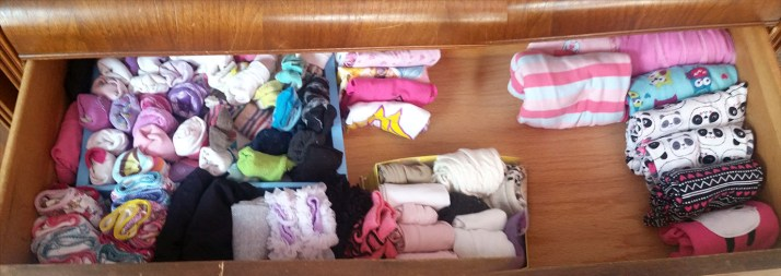 Small boxes work great to keep small items like socks and tights in order. (I don't fold kid socks the KonMari way, that's just asking for a bunch of mismatched pairs!)