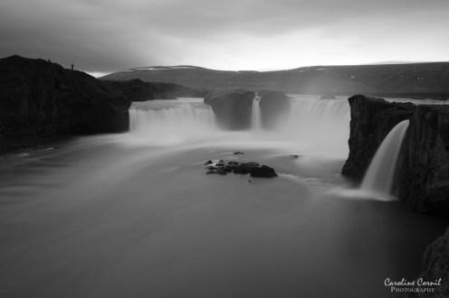 Iceland Godafoss waterfall black and white long exposure