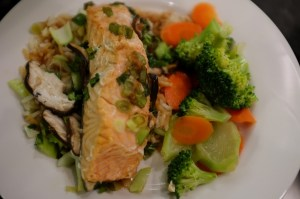 Asian Salmon Dinner with Honey Lime Vegetables