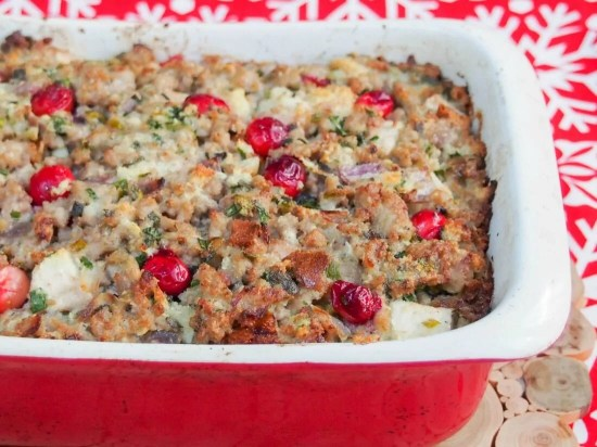 Pear, cranberry and sausage stuffing