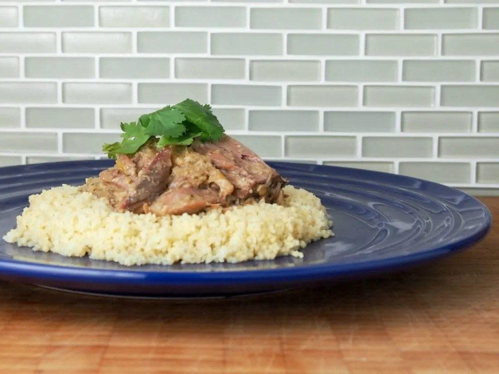 Tangia-style slow cooker lamb shanks with lemon