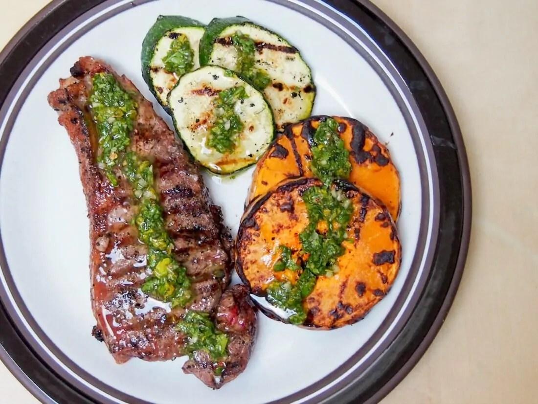 grilled butternut squash zucchini & steak w chimichurri sauce
