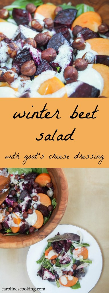 This winter beet salad has only 5 ingredients but is full of great flavors from earthy beets to fragrant persimmon, topped with a delicious creamy goats cheese dressing. It would make a delicious alternative side for Holiday dinners.