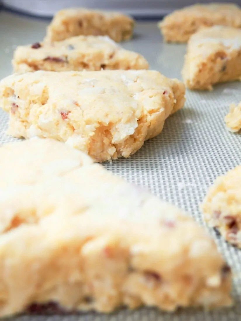 Apple and bacon cornmeal scones before baking