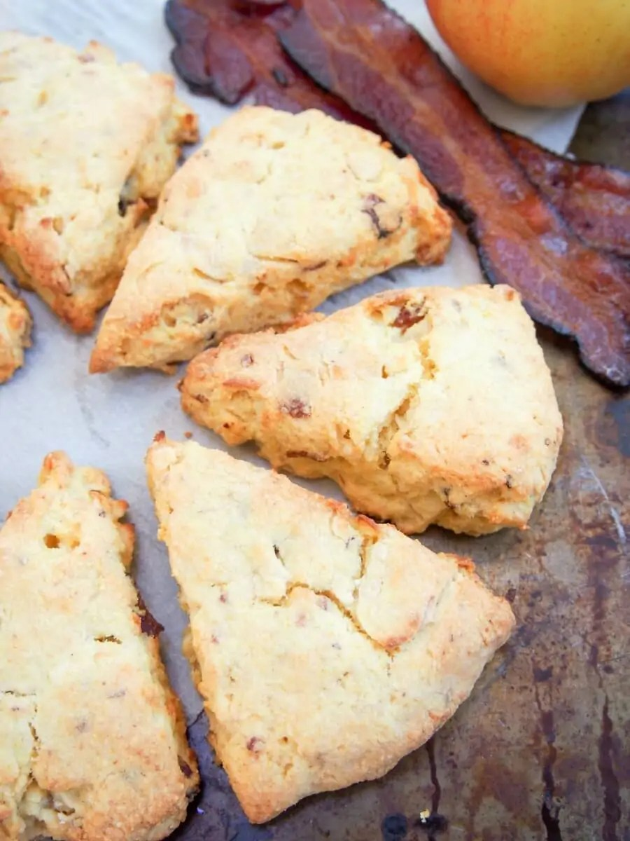 Apple and bacon cornmeal scones