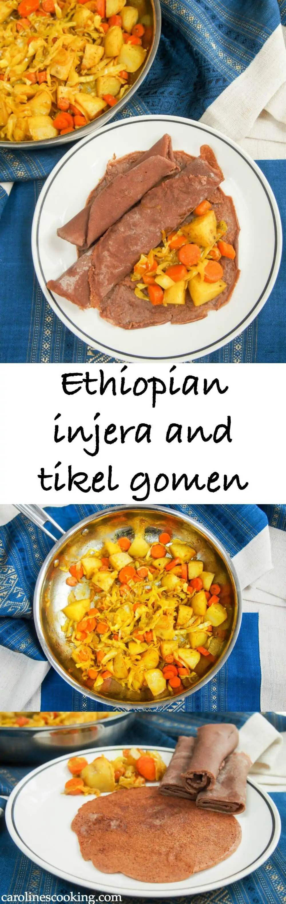 Ethiopian injera and tikel gomen - If you've yet to try Ethiopian food, you really should. Injera (flatbread) is the central to most meals & this tikel gomen (cabbage, carrots & potatoes) is a tasty, easy dish to serve with it. Gluten free and vegan