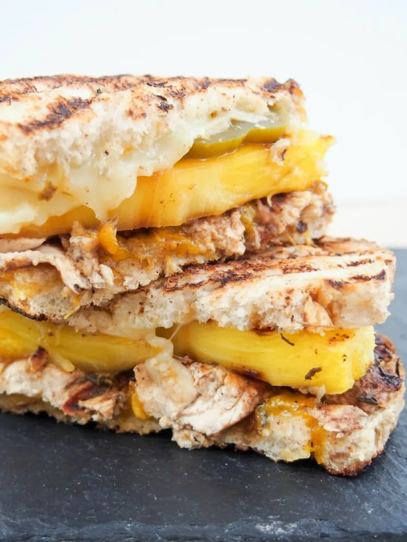 """""""The Jammin' Jamaican"""" chicken grilled cheese: This chicken grilled cheese is a delicious sweet spicy mix of Caribbean flavors in sandwich form - a quick mango jam, spiced chicken, grilled pineapple & more. Yum!"""