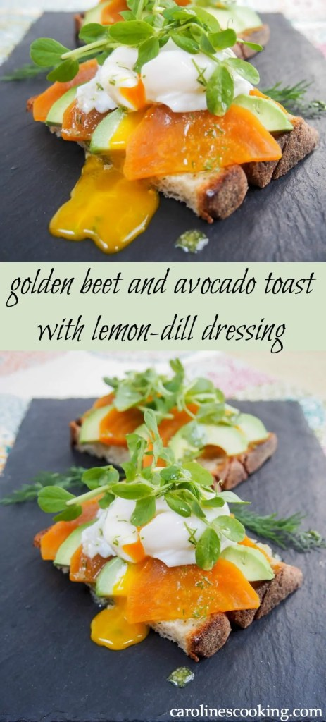 This golden beet and avocado toast is easy to make & so delicious, with a wonderfully fresh dressing. Great for lunch or brunch- top it with a poached egg too!