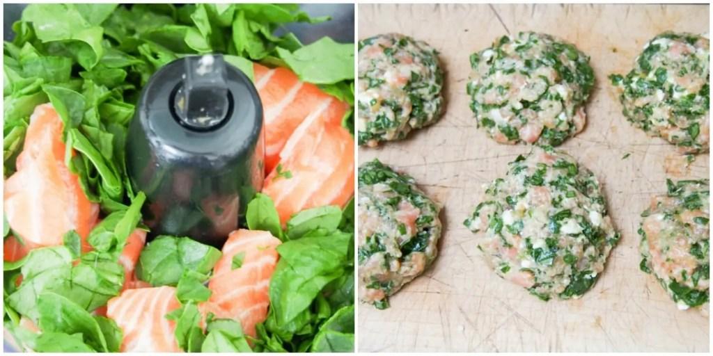 making spinach feta salmon burger