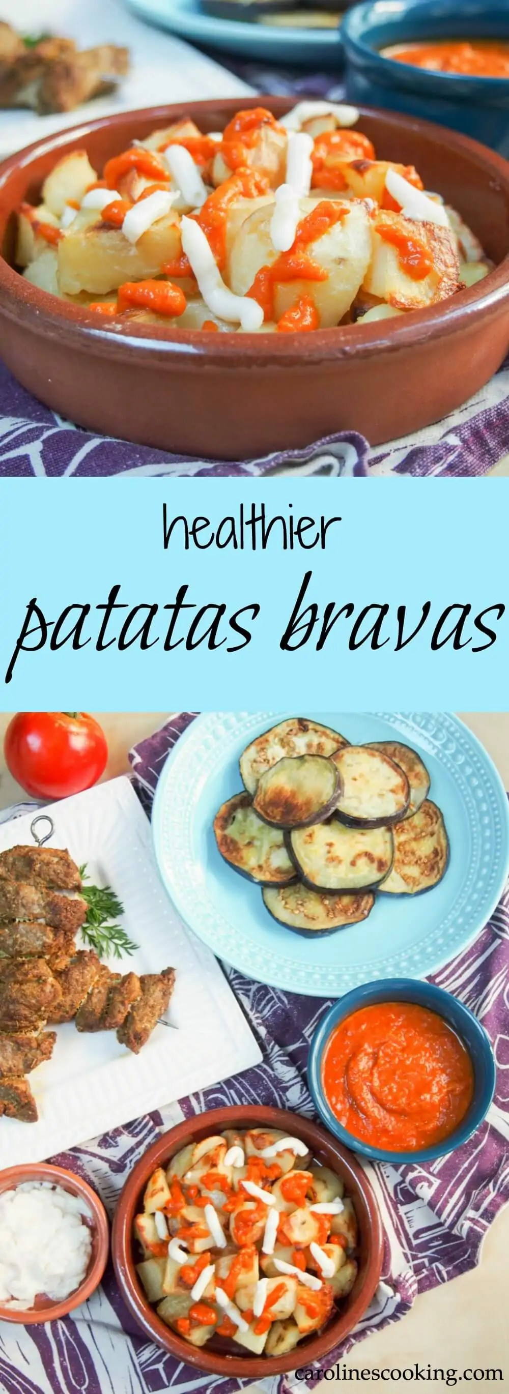 These healthier patatas bravas are roasted rather than fried, and with an easy spicy sauce, they make the classic Spanish potato tapas easy to enjoy.