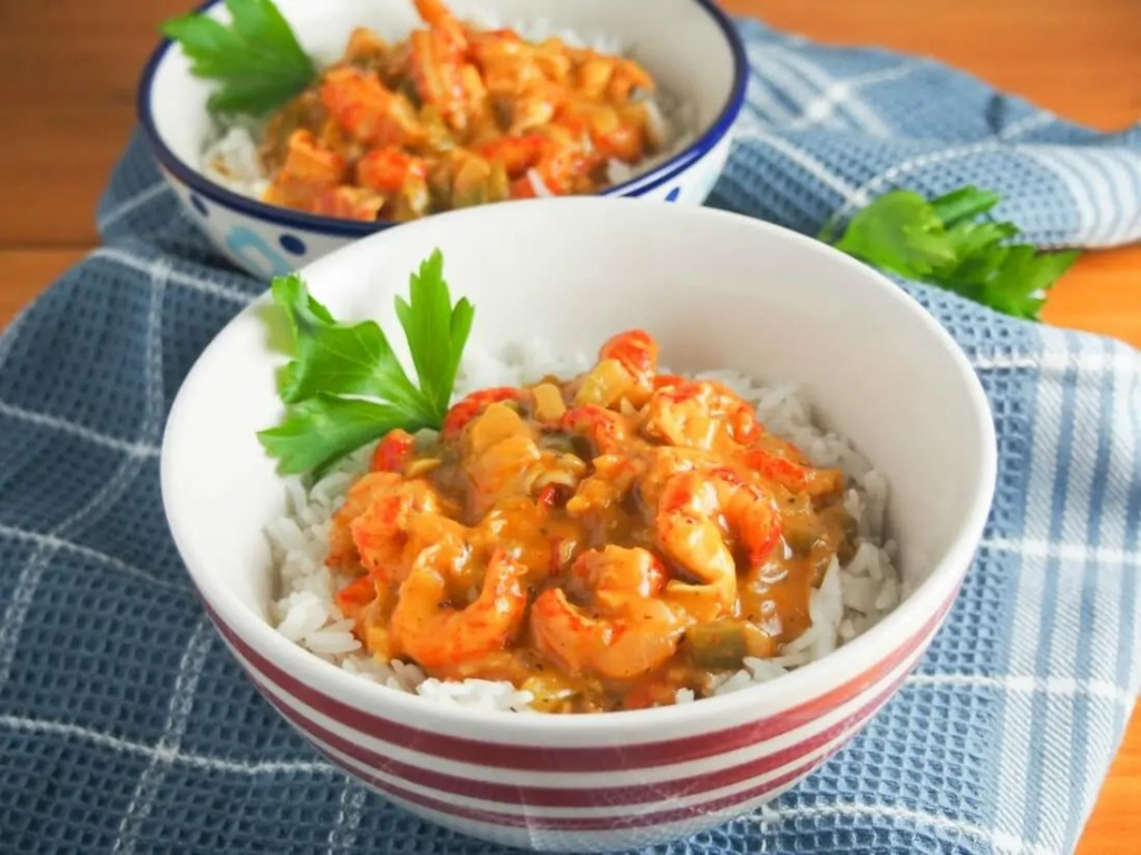 Crawfish etouffee (lightened up)