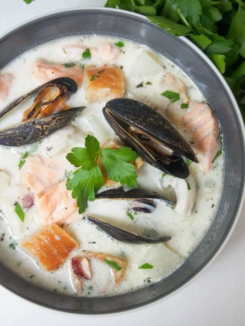 Irish fish chowder is a delicious mix of smoked and fresh fish in a light, gently creamy broth. Full of flavor, easy to make and perfect for lunch.