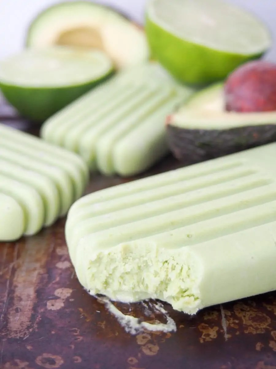 Avocado paletas (Mexican avocado ice pops) are easy to make, healthy & so creamy and tasty. Dairy free & refined sugar free.