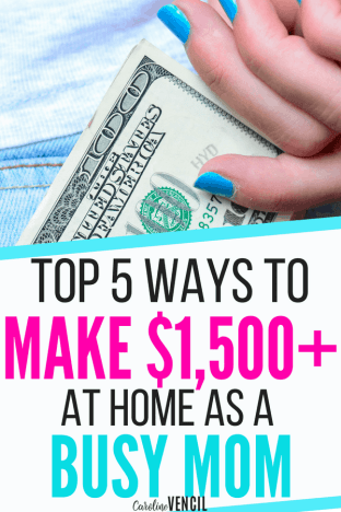 Top ways for moms to earn money working at home. Work from home jobs that can pay more than $1500+ each month from these side hustles that could be full time jobs from home too.