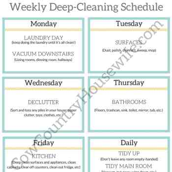 Deep-clean with 1 chore a day, free printable! This is genius!
