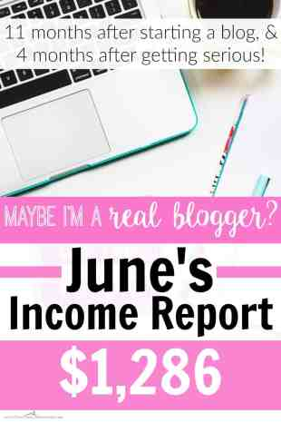 Maybe I'm a Real Blogger June Income Report $1,286