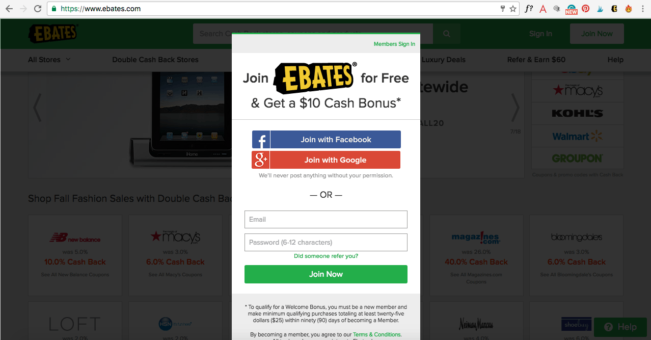 Click here to sign up for Ebates and get your $10 gift card to Target, Walmart, Kohls or Macy's.