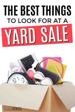 These are so great! I never thought of looking for these at yard sales! What to look for at yard sales. Tips for yard sale shopping. What to buy used. Best things to buy used. Yard sale tricks. Yard sale hacks. Great deals at yard sale. The BEST Things To Look For at a Yard Sale