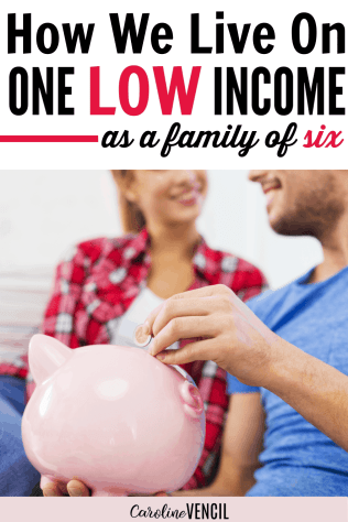 How to live on one income. Hot to start living frugally on a budget. Great tips and tricks for beginners. Perfect for stay at home moms looking to save more money. Frugal living is easier when you have a goal. She shares how her family of 6 lived off of $17,000 each year! Easy ways to save more money. Learn how to save money and budget. How to live well on a low income.