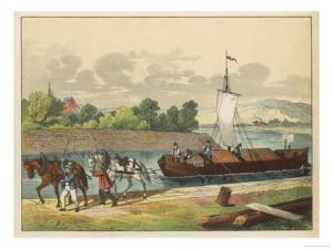 two-horses-draw-a-barge-along-a-german-canal-300x225 Author's Blog Guest Author Highlighting Historical