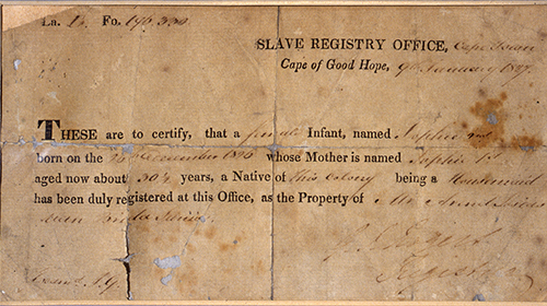 1118-Certificate-of-Slave-registry-office-1827 Highlighting Historical Romance