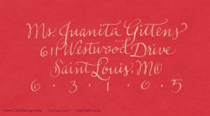 Slim Copperplate gold ink on red address