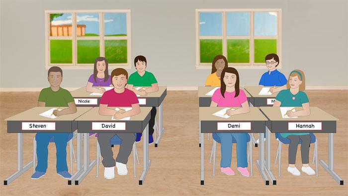 Classroom during math class