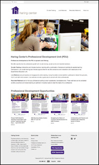 Detail of Haring Center PDU Shopify site home page