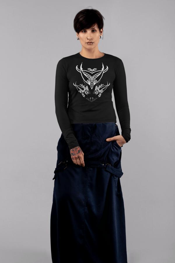 Girl wearing dragon heads t-shirt