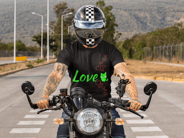 I love my cat - a man on a motorbike wearing this t-shirt