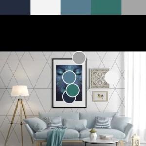 Home decoration - colour palette. Room image showing colours.