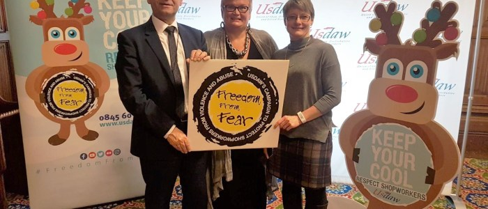 Carolyn Harris MP supports Usdaw's 'Respect for shopworkers' campaign