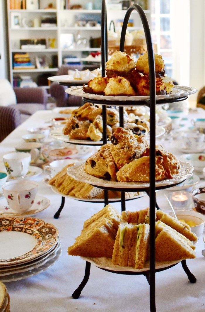 Valentines Afternoon Tea - tiered cake stand with coconut macaroons